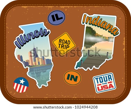 Illinois and Indiana travel stickers with scenic attractions and retro text on vintage suitcase background