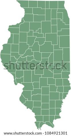 illinois county map vector
