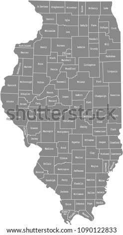 Illinois county map vector outline in gray background. Illinois state of USA map with counties names labeled Stock photo ©