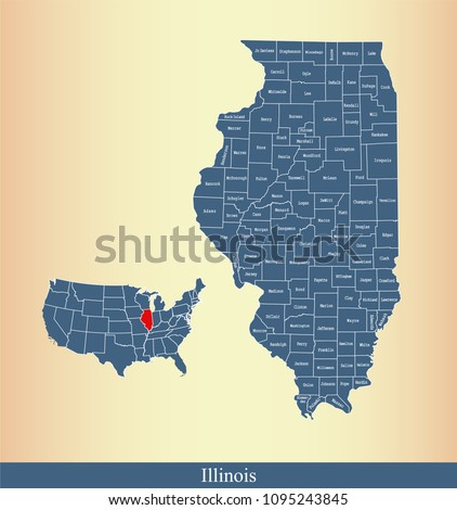 Illinois county map with names labeled. Illinois state of USA map vector outline  Stock photo ©