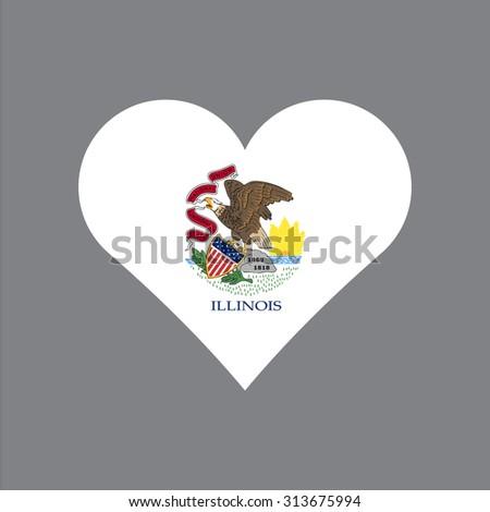 illinois flag heart  love to