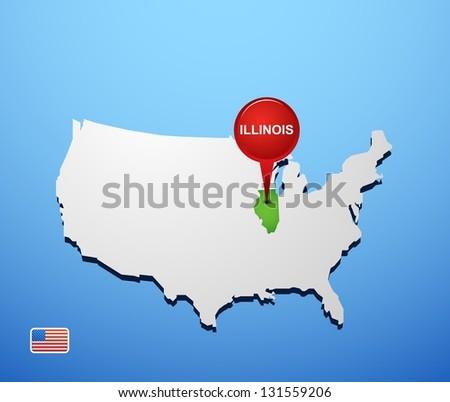 Illinois on USA map