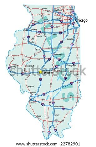 Illinois state road map with Interstates and U.S. Highways. All elements on separate layers for easy editing. - stock vector