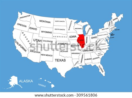 Map Usa Illinois Illinois State, USA, vector map isolated on United states map. Editable blank vector