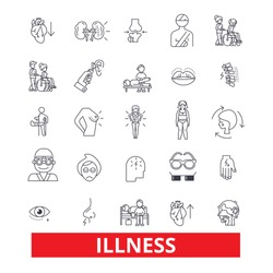 Illness,affliction, ailment, sickness, disease, unwell, unhealthy, breakdown line icons. Editable strokes