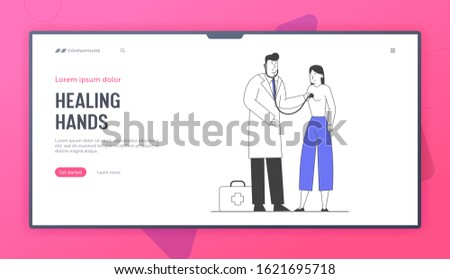 Illness and Sickness Website Landing Page. Doctor Visiting Patient Listen Heart Beating, Ill Woman Having Cold Virus, Caught or Flu Disease Web Page Banner. Cartoon Flat Vector Illustration, Line Art