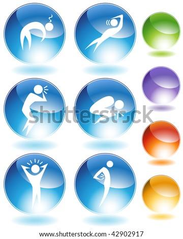 Illness crystal icon set isolated on a white background.