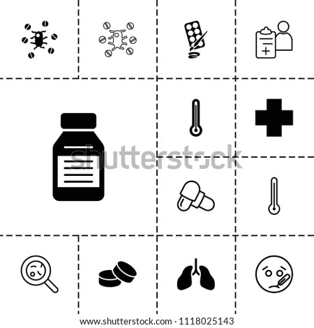 Illness icon. collection of 13 illness filled and outline icons such as tablet, medical cross, medicine, thermometer, sick emot. editable illness icons for web and mobile.