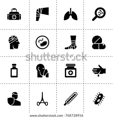 Illness icons. vector collection filled illness icons. includes symbols such as bacteria, insurance, thermometer, medicine, medical pill. use for web, mobile and ui design.