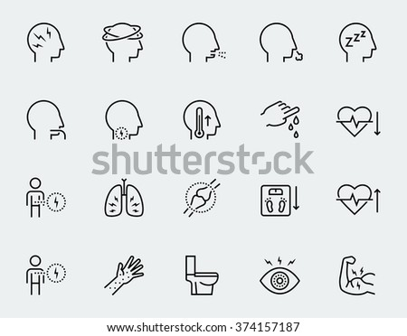 Illness symptoms vector icon set in thin line style
