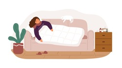 Illness woman lying on couch covering blanket vector flat illustration. Unhappy female with seasonal virus symptoms sleep on sofa isolated on white. Person with common cold or viral infection at home.