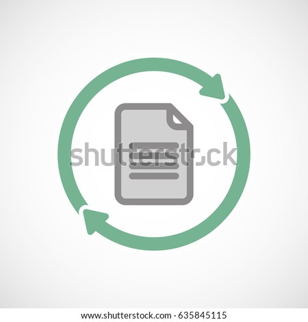 Illuatration of an isolated recycle  reuse icon with a document