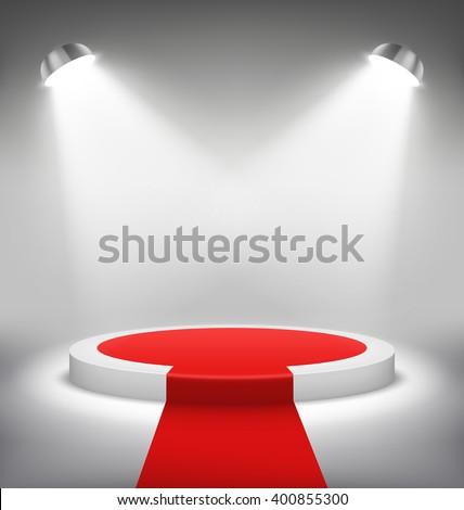 Illuminated Festive Stage Podium Scene with Red Carpet for Award Ceremony on White Background