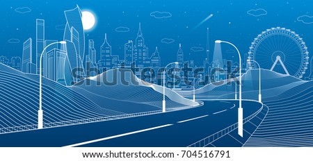 illuminated highway in