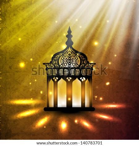 Illuminated intricate Arabic Lamp on shiny abstract background for Ramadan Kareem. #140783701
