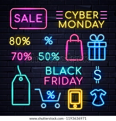 Illuminated neon signs logo frame light electric banners glowing on black brickwall background,big huge sales concept set.Neons sign logos Black friday Cyber monday,percent sale billboards