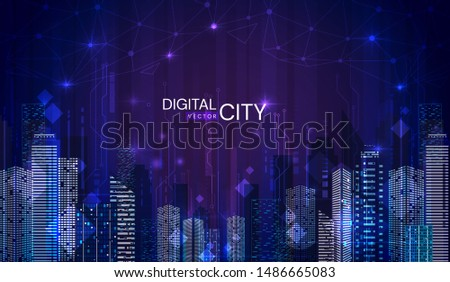 Illuminated night scene of a Digital City with modern skyscrapers in twilight blue tones with text in a vector panorama banner