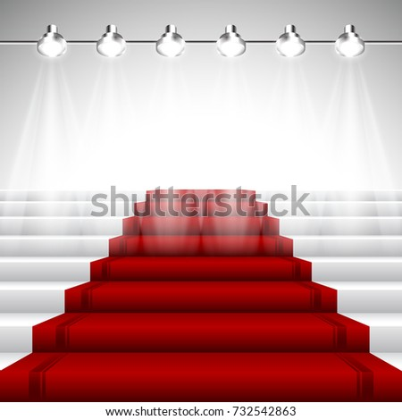 Illuminated Red Carpet under Set of Six Spotlights over White Stairway with Perspective View
