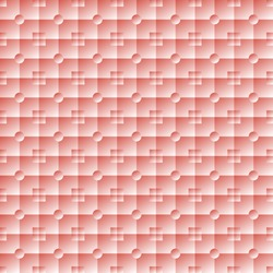 Illuminated soft volume seamless texture. Square and round pink tiles with smooth surface. Lit embossed wallpaper. Vector illustration for stylish modern design
