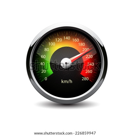 illuminated speedometer on a