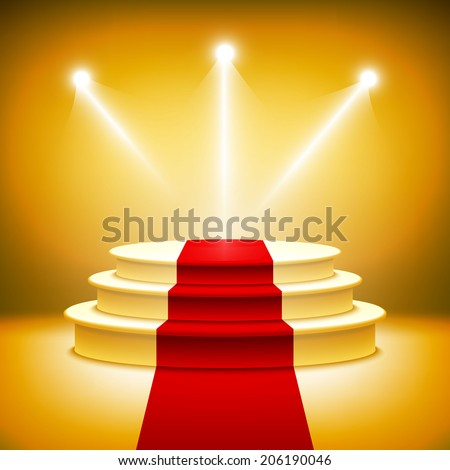 Illuminated stage podium for award ceremony vector illustration