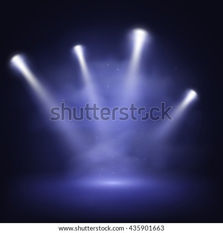 Illuminated stage with scenic lights and smoke, vector EPS10 #435901663