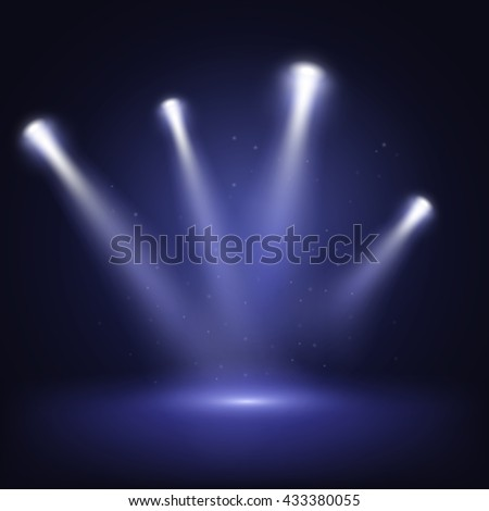 Illuminated stage with scenic lights, vector EPS10 #433380055