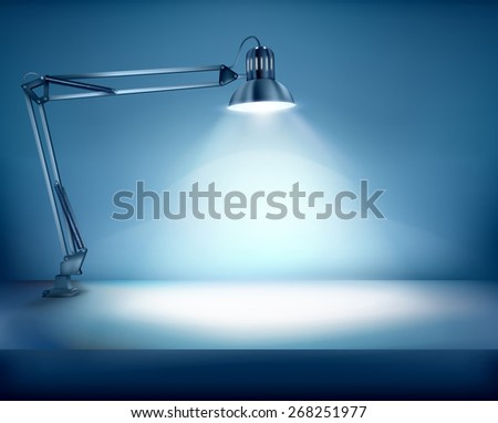 Illuminated work place. Vector illustration.