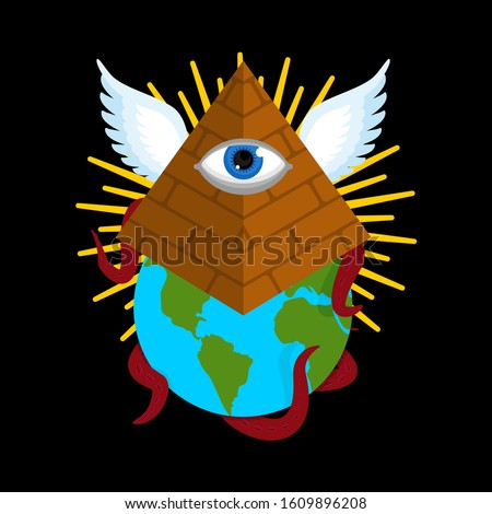 Illuminati conspiracy theory. Pyramid with an eye. All-seeing eye. Symbol of world government. sacred sign