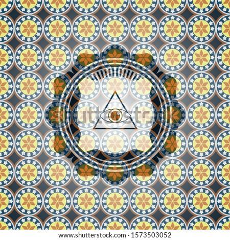 illuminati pyramid icon inside arabic badge. Arabesque decoration.