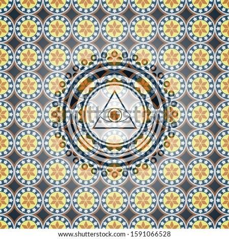 illuminati pyramid icon inside arabic emblem. Arabesque decoration.