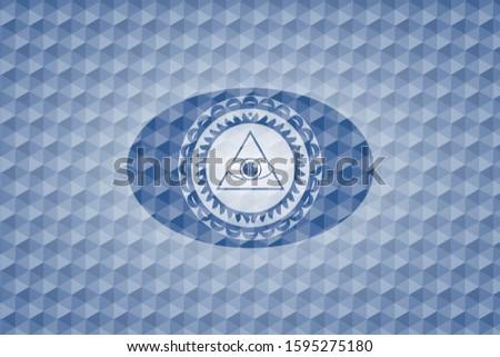 illuminati pyramid icon inside blue badge with geometric background.
