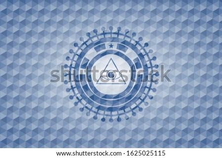 illuminati pyramid icon inside blue emblem or badge with abstract geometric pattern background.