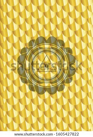 illuminati pyramid icon inside gold shiny badge. Scales pattern. Vector Illustration. Detailed.