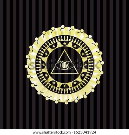 illuminati pyramid icon inside gold shiny emblem