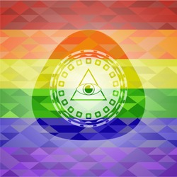 illuminati pyramid icon inside lgbt colors emblem