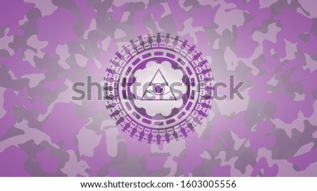 illuminati pyramid icon inside pink and purple camouflage texture