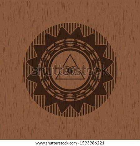 illuminati pyramid icon inside realistic wooden emblem