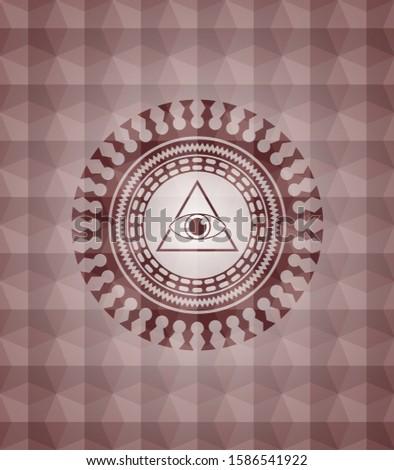illuminati pyramid icon inside red badge with geometric pattern. Seamless.