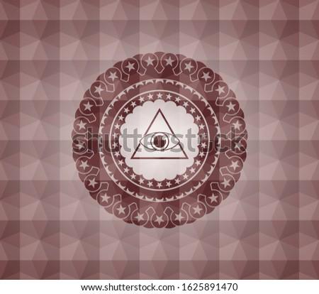 illuminati pyramid icon inside red emblem or badge with geometric pattern background. Seamless.