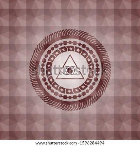 illuminati pyramid icon inside red seamless emblem with geometric pattern.