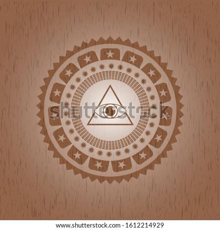 illuminati pyramid icon inside retro wood emblem
