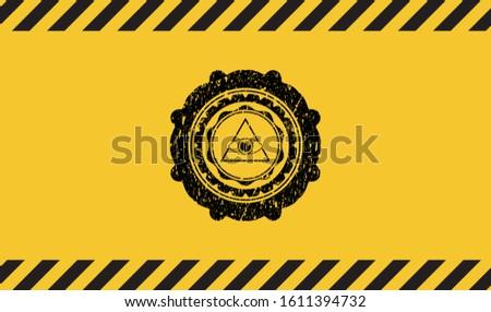 illuminati pyramid icon inside warning sign, black grunge emblem. Vector Illustration. Detailed.