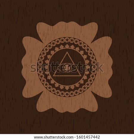 illuminati pyramid icon inside wood emblem