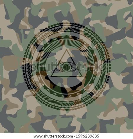 illuminati pyramid icon on camo pattern