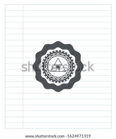 illuminati pyramid icon with pencil strokes. Vector Illustration. Detailed.