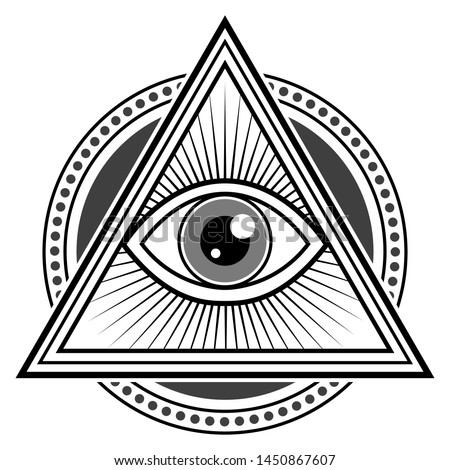Illuminati Symbol Design. All See Eye Famous Sign. Decorative Logo Conspiracy.