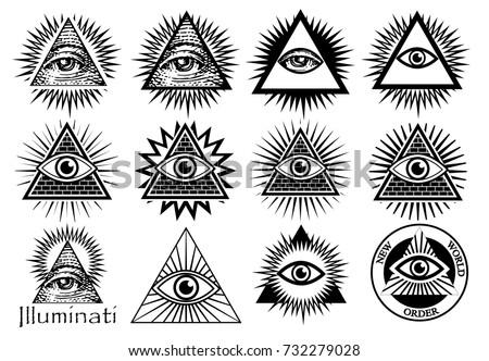 Illuminati symbols, masonic sign, all seeing eye