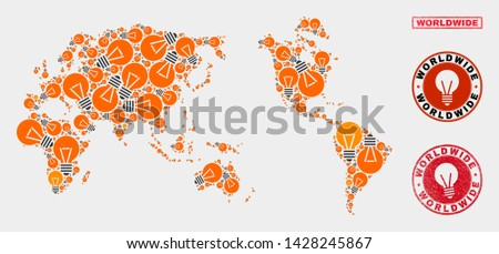 Illumination bulb mosaic worldwide map and grunge rounded stamps. Mosaic vector worldwide map is composed with power lamp elements. Abstraction for power supply business. Orange and red colors used.