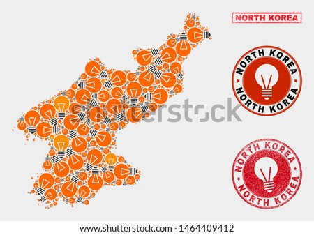 Illumination lamp mosaic North Korea map and rubber rounded stamp seals. Mosaic vector North Korea map is designed with illumination lamp items. Abstraction for power supply services.